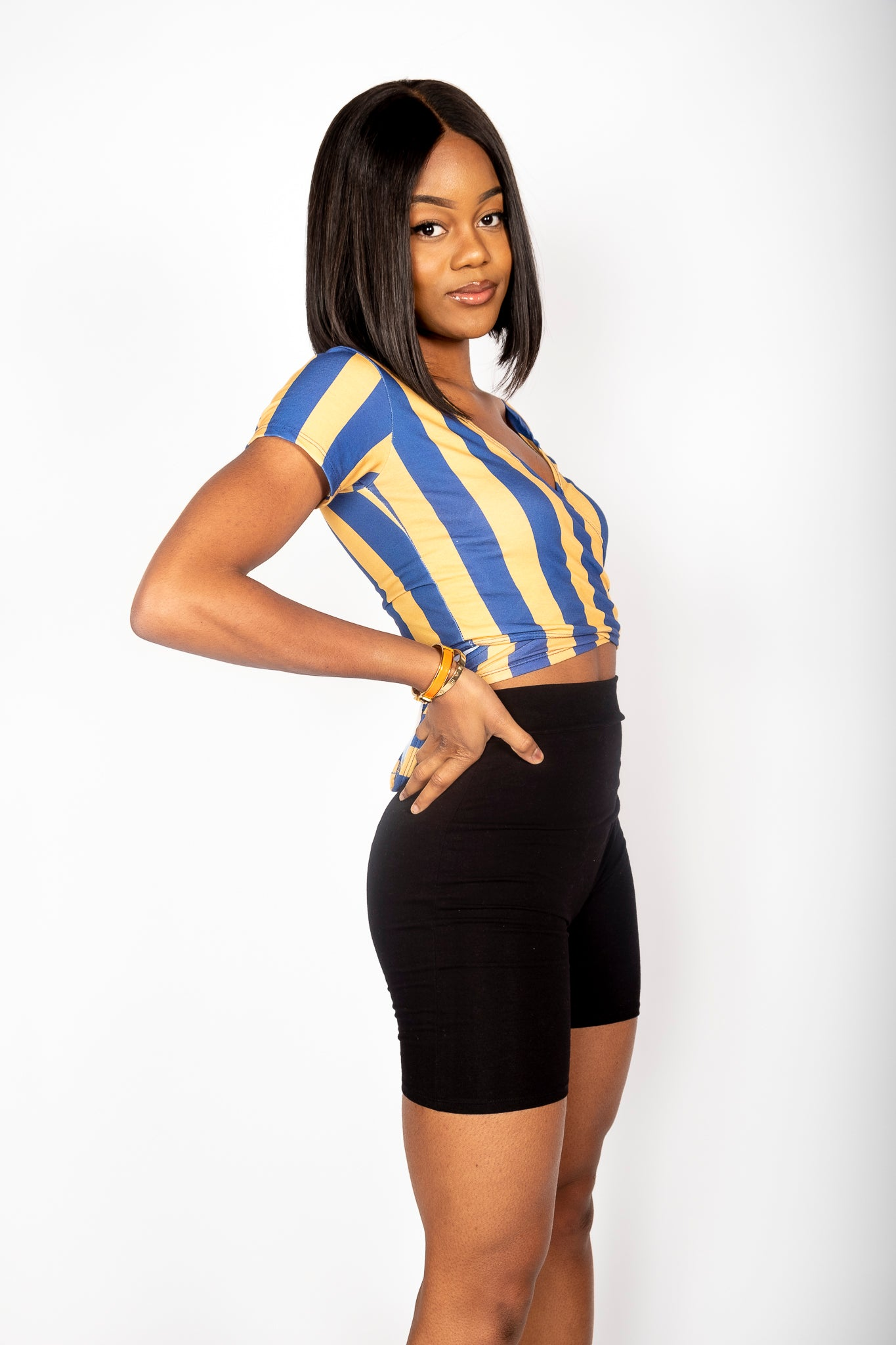 Blue and Gold Wrap Top - Hype and Vice