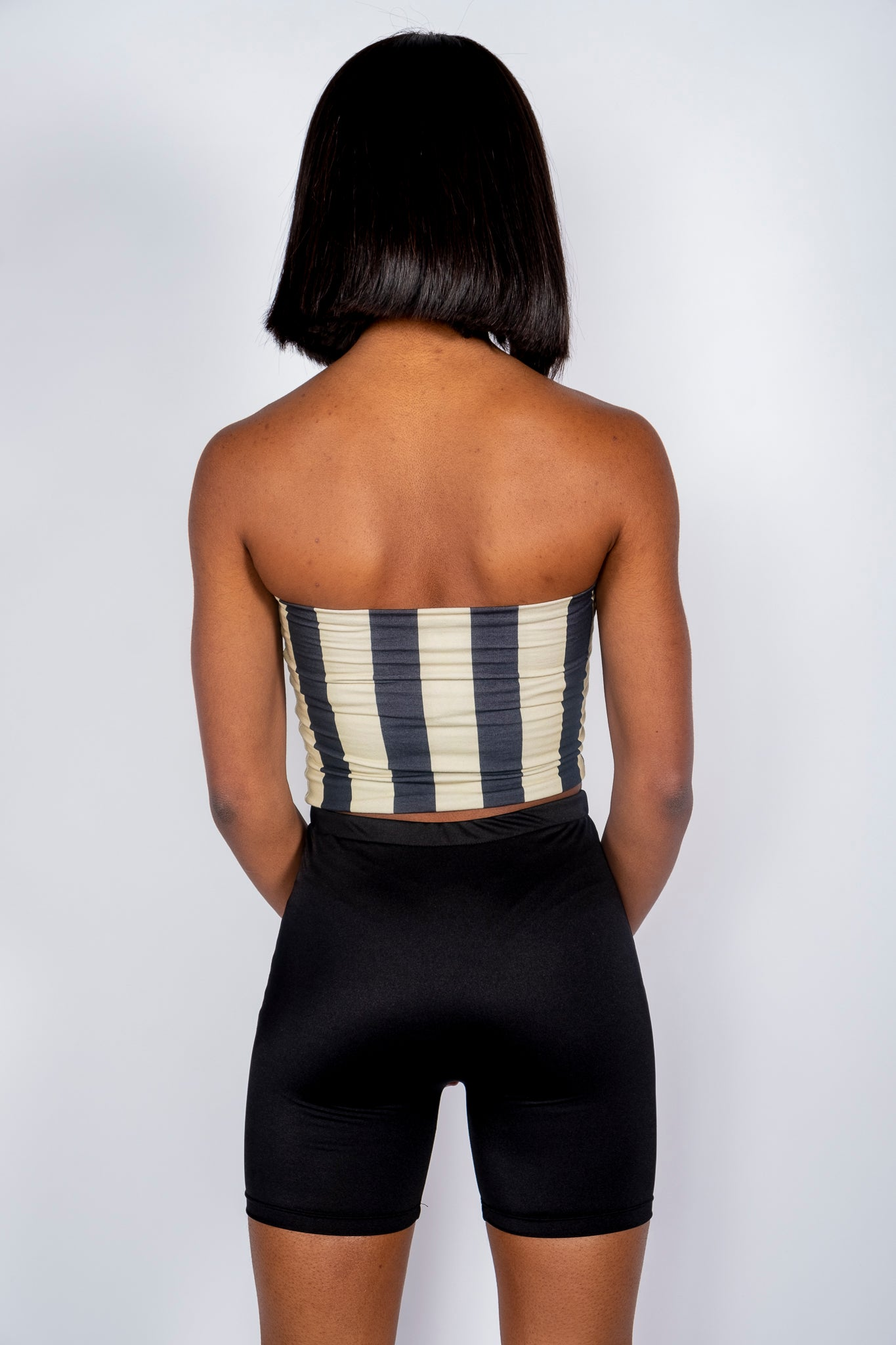 Black and Tan Gold Striped Tube Top - Hype and Vice