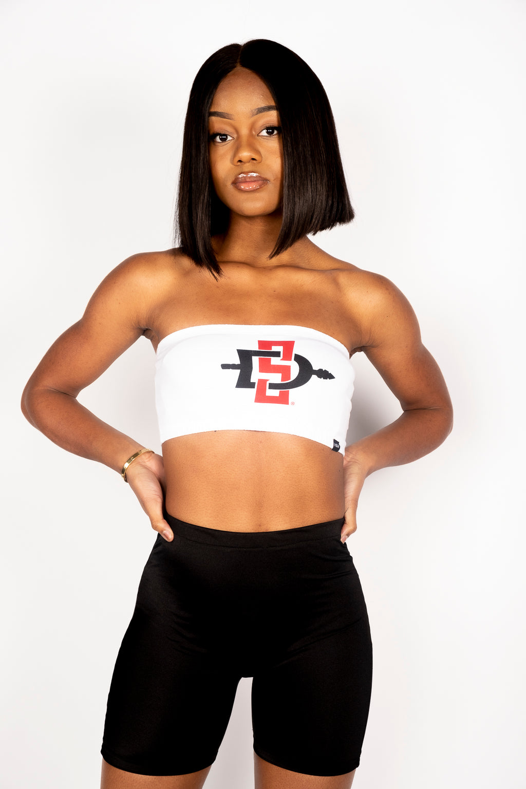 The SDSU White Interlock Bandeau Top - Hype and Vice