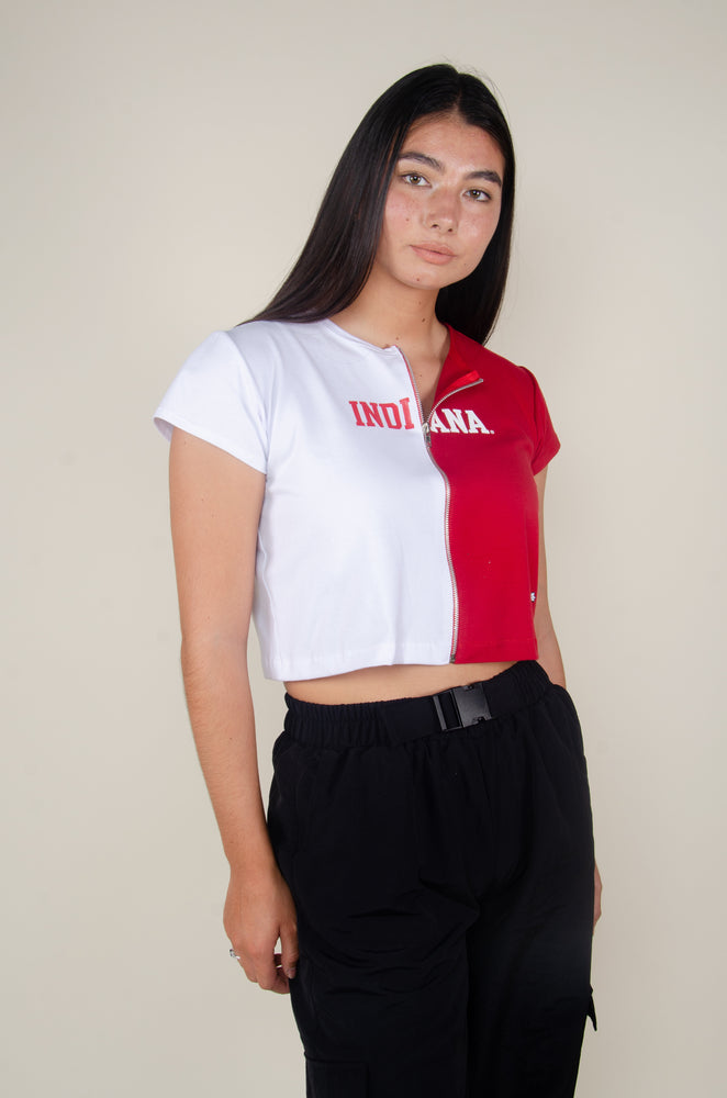 Load image into Gallery viewer, Indiana Contrast Zip-Up Tee