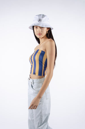Blue and Gold Striped Tube Top - Hype and Vice