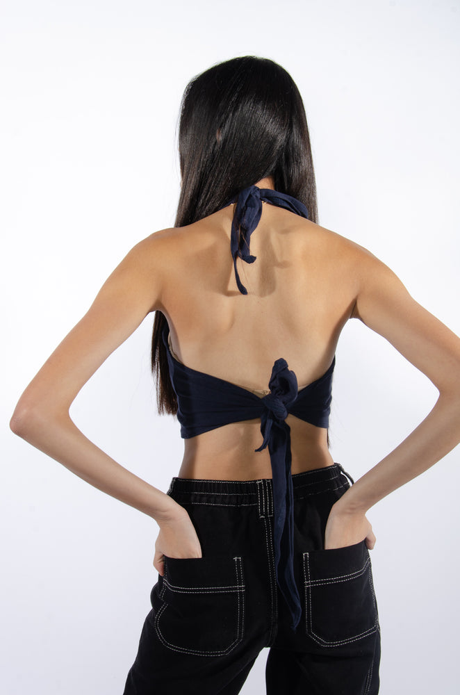 Load image into Gallery viewer, Bear Down Blue Adjustable Halter Top - Hype and Vice