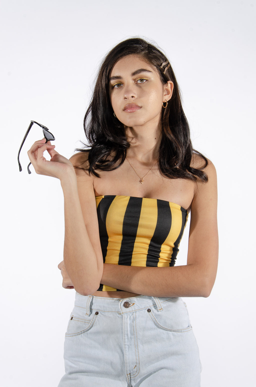 Black and Yellow Striped Tube Top