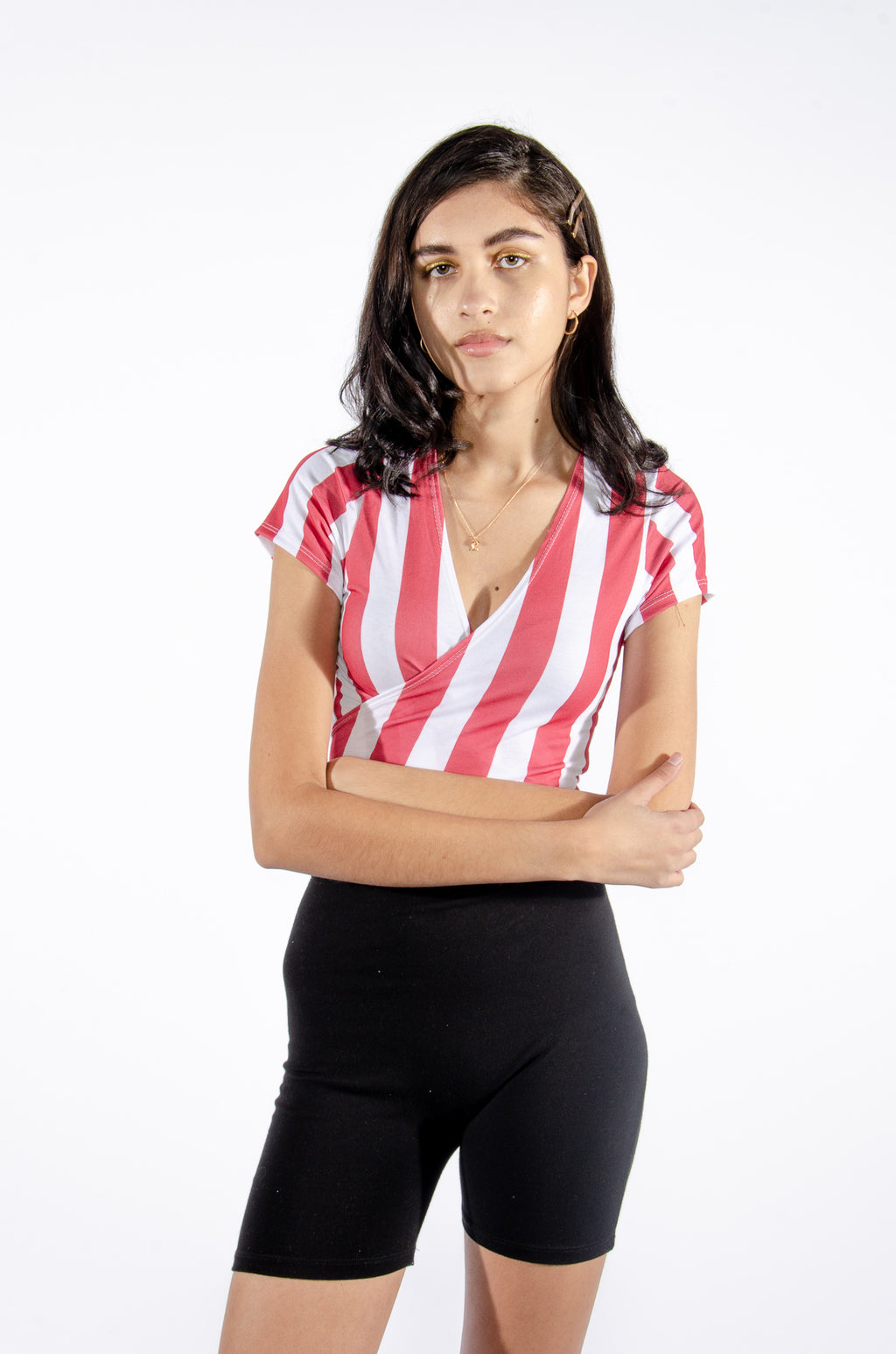 Red and White Wrap Top - Hype and Vice