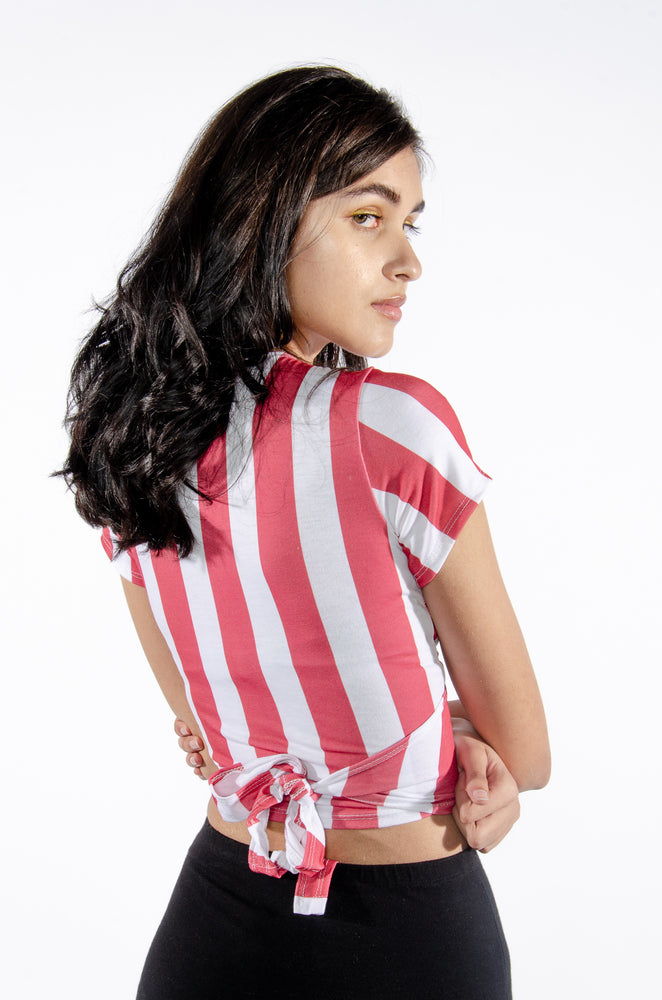 Load image into Gallery viewer, Red and White Wrap Top - Hype and Vice