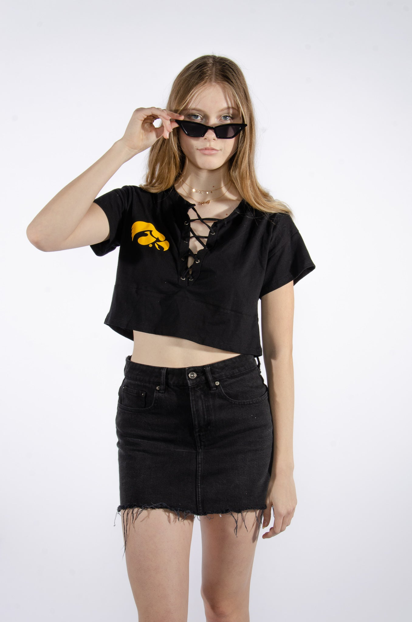 Iowa Lace-up Crop Top - Hype and Vice