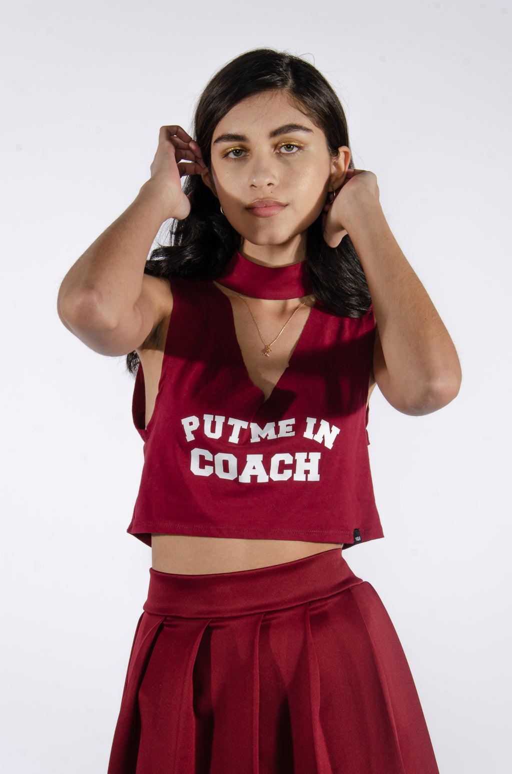 Put me in Coach Burgundy Cutout Top - Hype and Vice