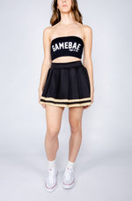 Black and Tan Gold Cheerleader Skirt - Hype and Vice