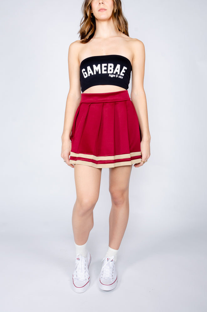 Garnet and Tan Gold Cheerleader Skirt - Hype and Vice