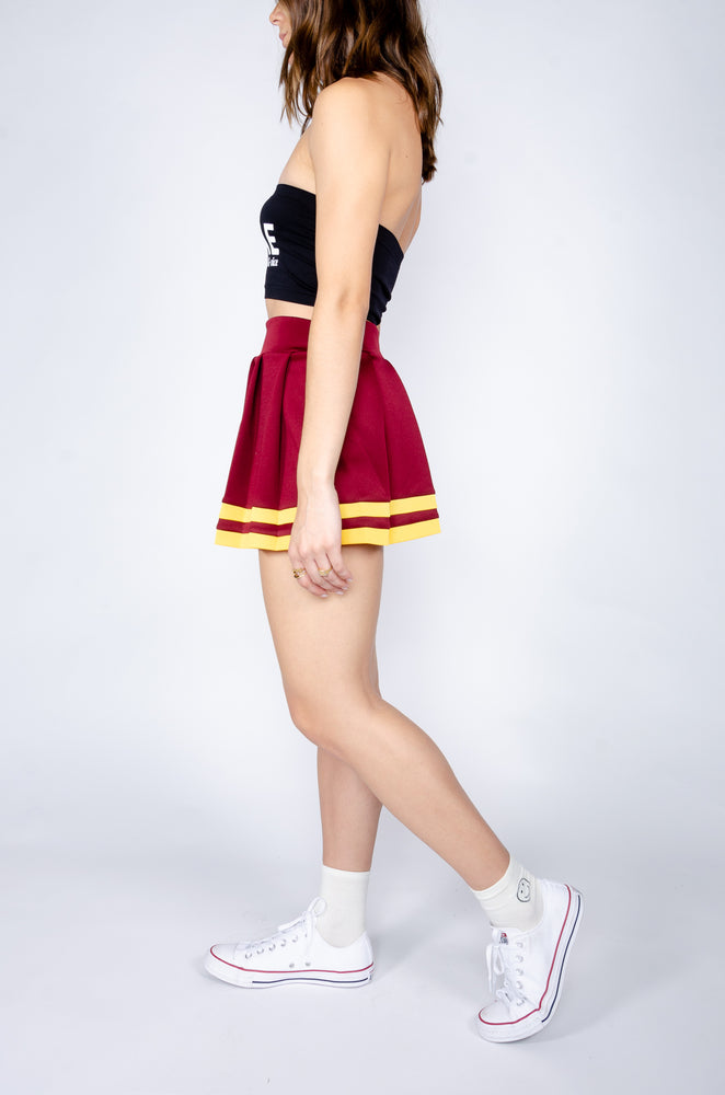 Load image into Gallery viewer, Maroon and Gold Cheerleader Skirt - Hype and Vice
