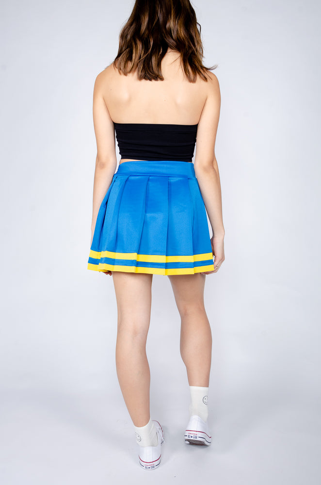 Load image into Gallery viewer, Blue and Yellow Cheerleader Skirt - Hype and Vice