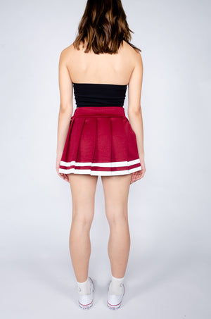 Maroon and White Cheerleader Skirt - Hype and Vice