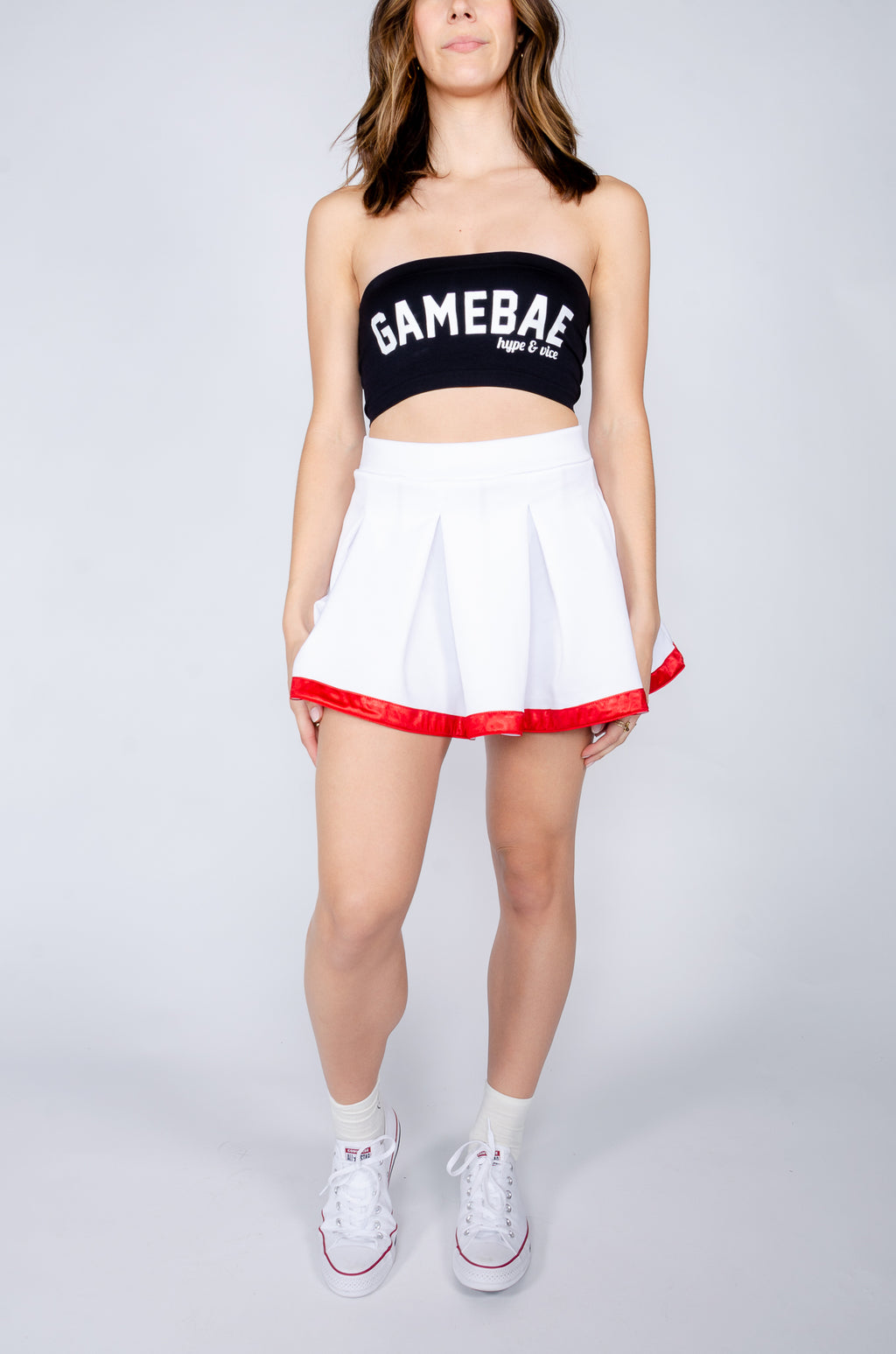 White and Red Tailgate Skirt - Hype and Vice