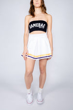 White Tailgate Skirt with Purple and Gold Ribbons - Hype and Vice