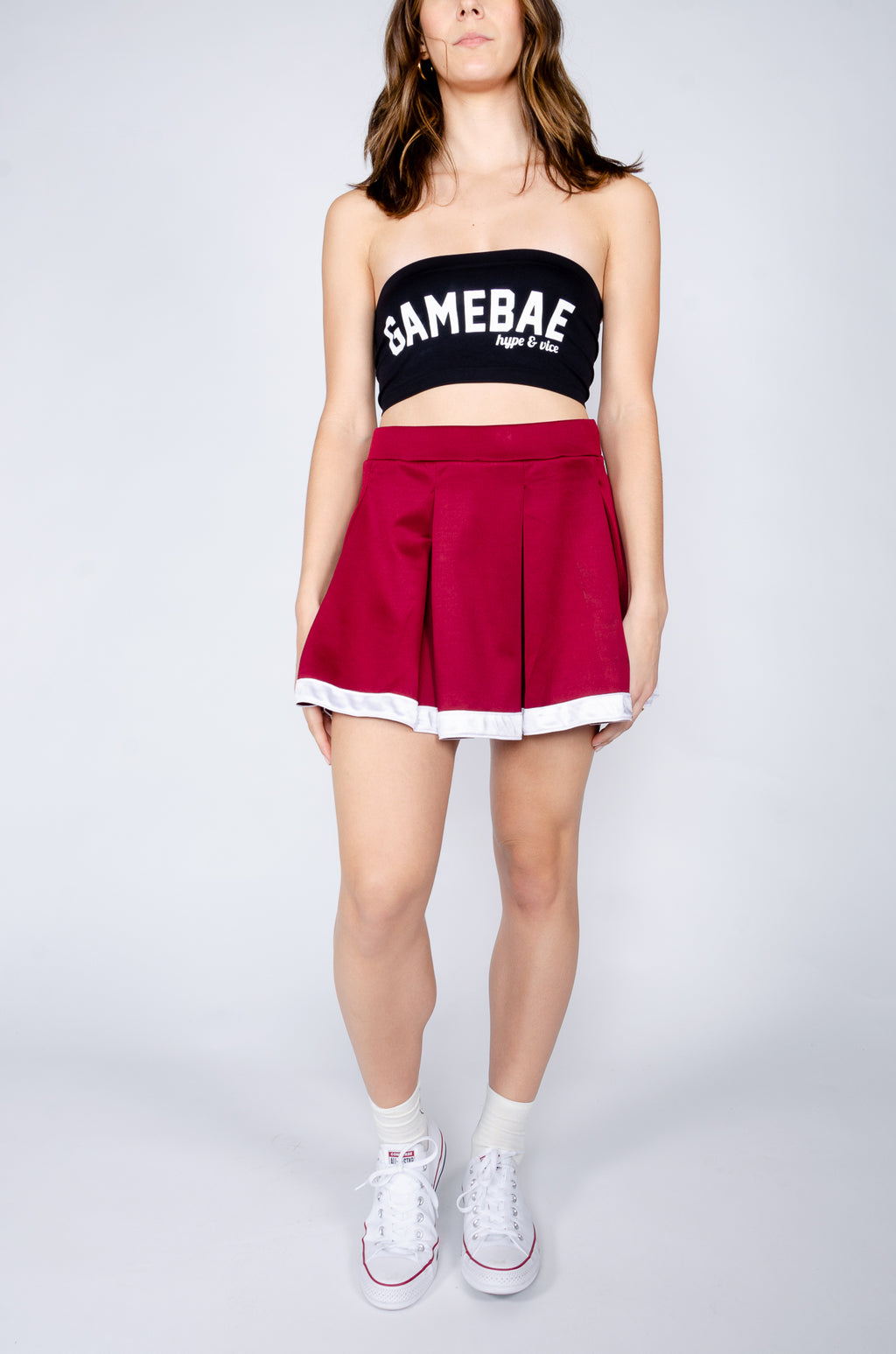 Maroon and White Tailgate Skirt - Hype and Vice