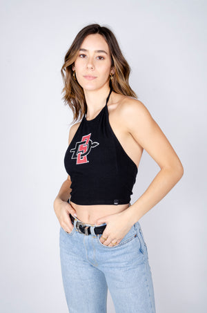 SDSU Black Halter Top - Hype and Vice
