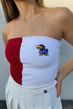 Load image into Gallery viewer, MTO University of Kansas Color Block Tube Top