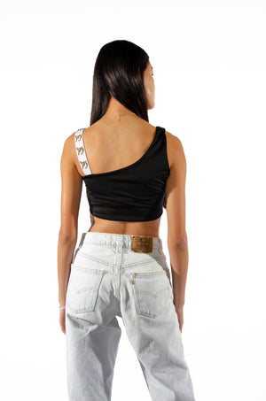 Cal One Shoulder Crop Top with Woven Straps - Hype and Vice