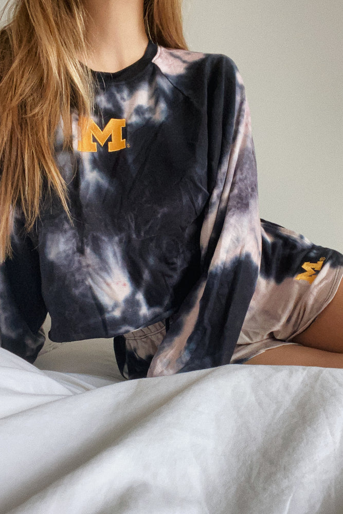 Load image into Gallery viewer, MTO University of Michigan Tie Dye Dreams Shorts
