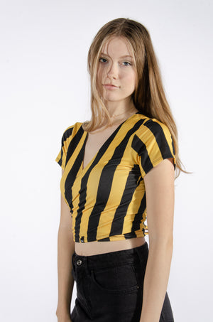 Load image into Gallery viewer, Black and Yellow Wrap Top - Hype and Vice