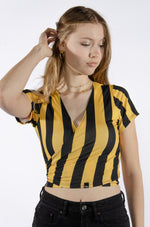 Black and Yellow Wrap Top - Hype and Vice