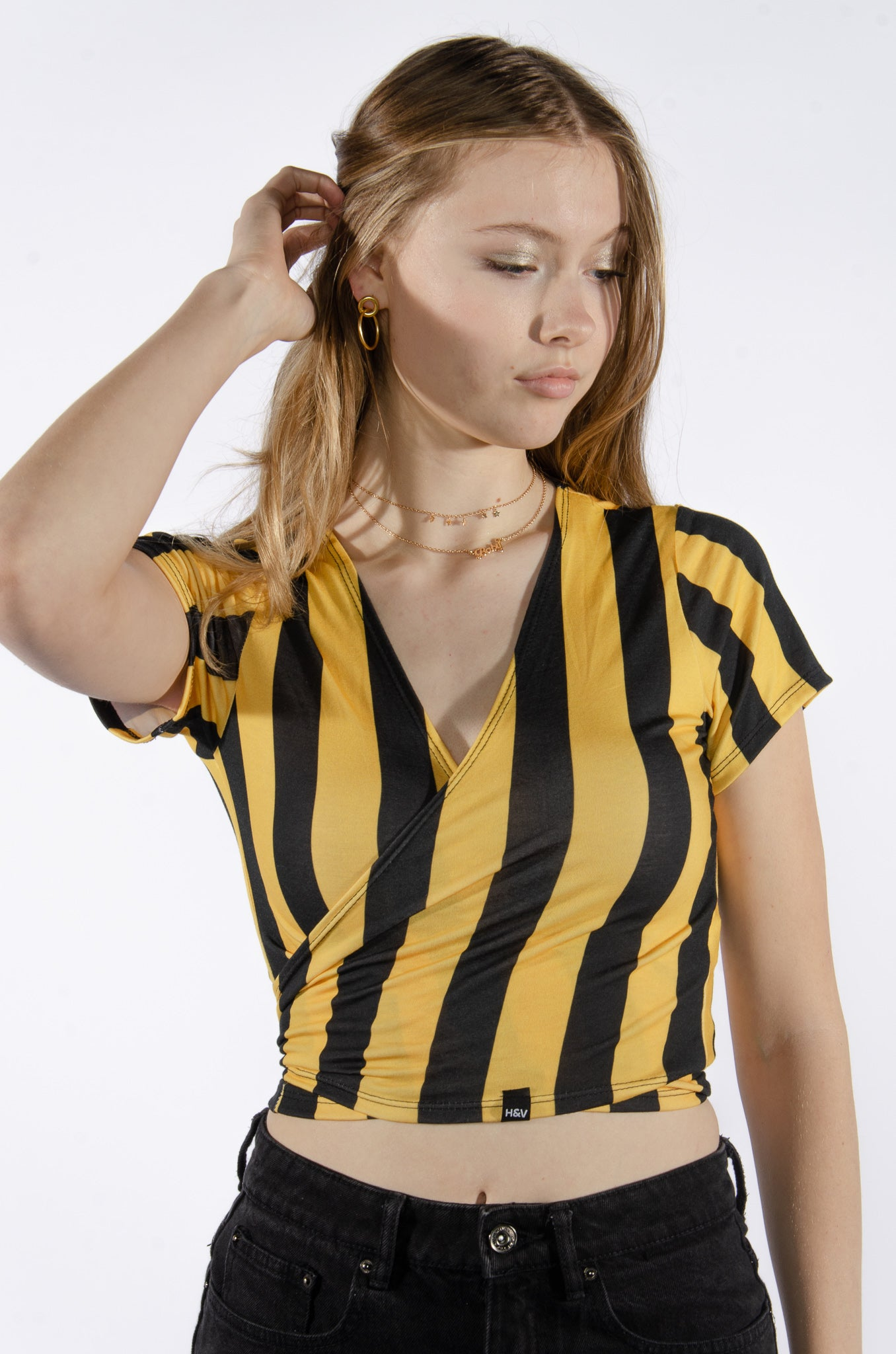 Black and Yellow Striped Wrap Top - Hype and Vice