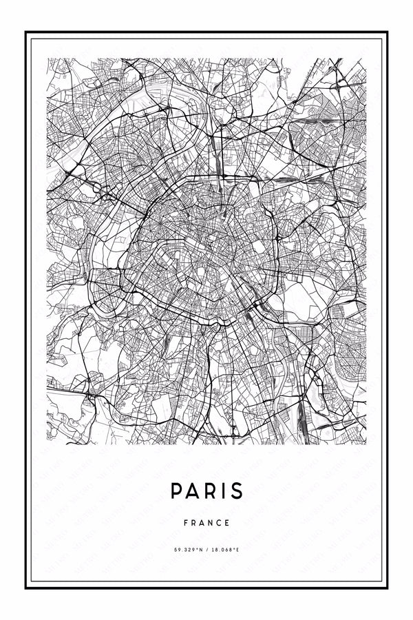 Paris, France Map •  Print