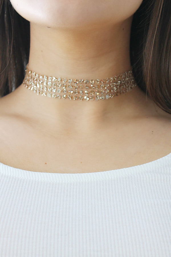 Gold Sparkle Choker Necklace