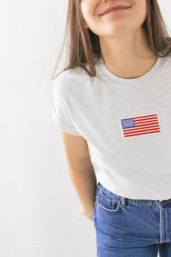 American Flag T-Shirt • Ash Gray