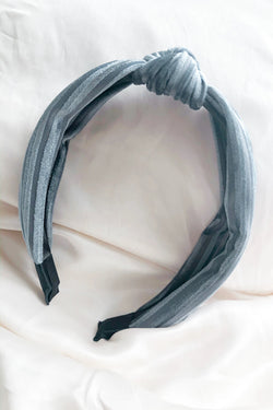 Gray Velour Ribbed Headband