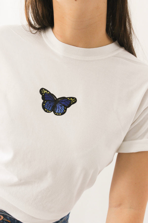 Blue Butterfly Patch T-Shirt • White