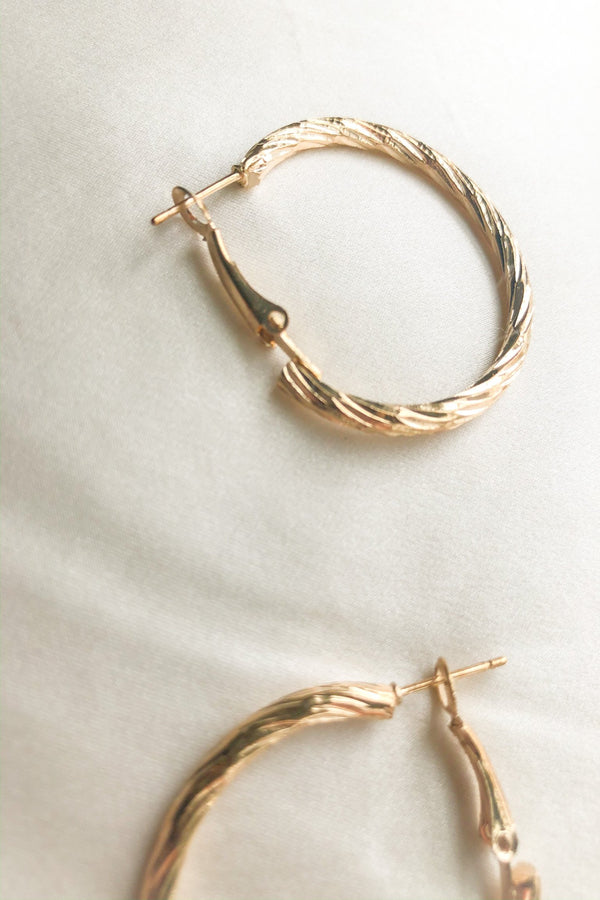 Textured Gold Hoop Earrings