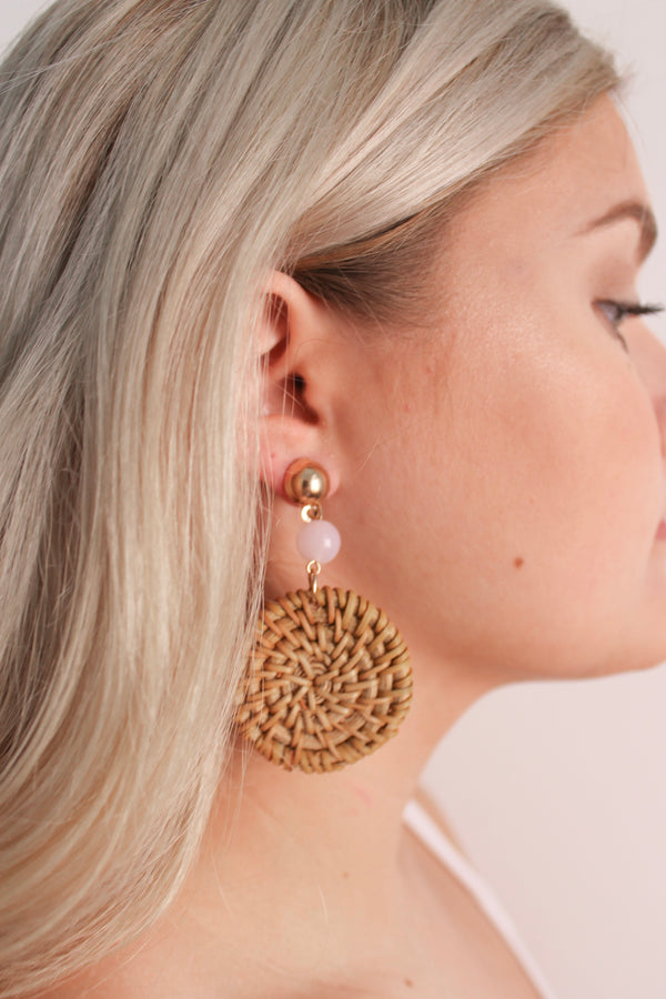 Wicker Earrings • Pink