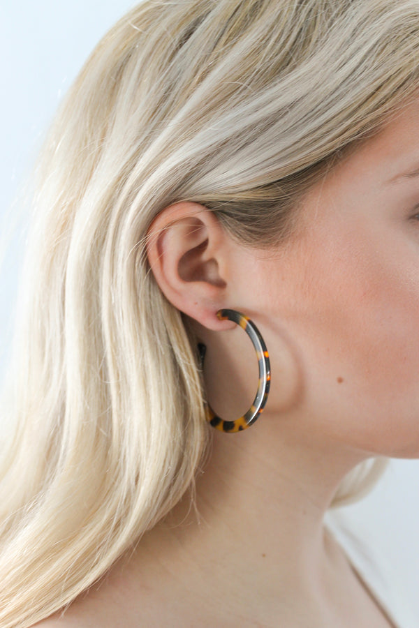 Flat Tortoise Hoop Earrings