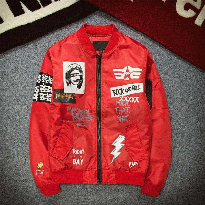 Red ''ROCK & ROLL'' Bomber Jacket
