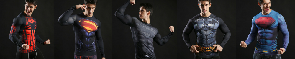 super hero tchirt compression for gym