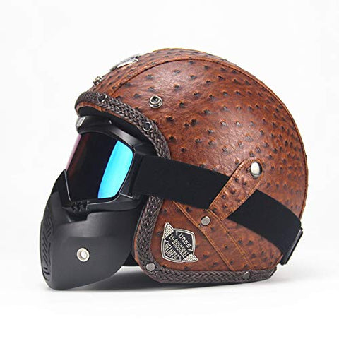 Open Face Vintage Leather Helmet ( Dotted Half Leather )-Colinas Store