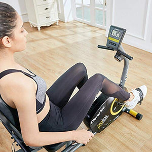 Indoor Exercise Bike with Monitor and Adjustable Seat(Yellow)
