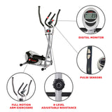 Elliptical Machine Cross Trainer with 8 Level Resistance and Digital Monitor