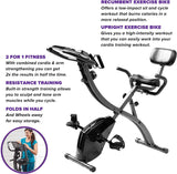 Folding Indoor Exercise Bike with Arm Resistance Bands and Heart Monitor