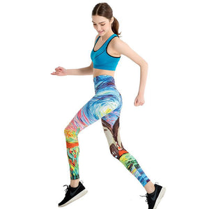 Push Up Cartoon 3D Graffiti Leggings - Women - Graffiti Japanese Legging Polyester