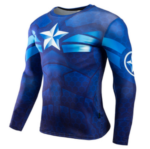 Captain America Fitness Compression Bodybuilding Long Sleeve-Best Superhero Clothes online