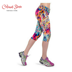 Short Floral High Waist Leggings - Kapri - Women - Floral Kapris Short