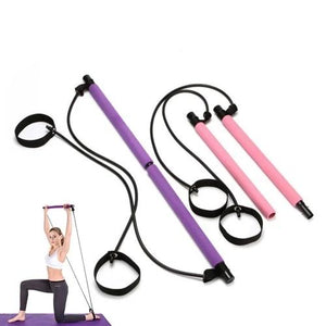 Pilates Rope Puller Gym Portable Pilates Bar Stick