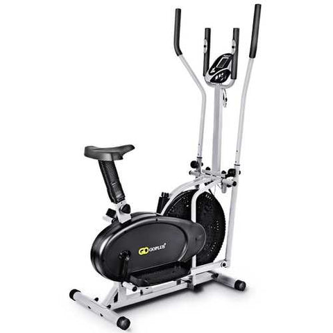 2-in-1 Elliptical Dual Cross Trainer Machine Fan Bike