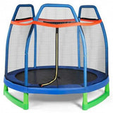 7 FT Kids Trampoline W/ Safety Enclosure Net