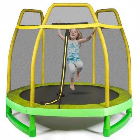 7FT Kids Trampoline W/ Safety Enclosure Net-Yellow