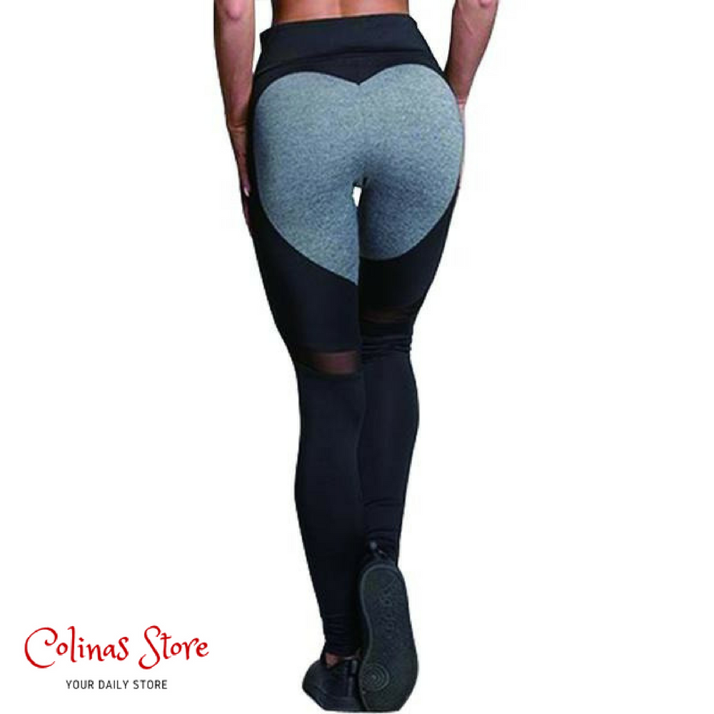 Heart-Shaped Fitness Leggings - Women - Heart Mesh Polyester