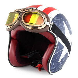 Old School helmet with goggles