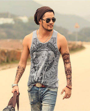 Casual Tank Top Elephant Print Cotton